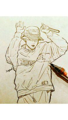 J Hope love Kpop Drawings, Art Drawings Sketches, Kpop Fanart, Jungkook Fanart, Fan Art, Anime Kawaii, Art Sketchbook, Drawing Reference, Art Inspo