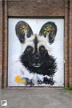 Five London Street Artists You Might Not Know: Masai's dog on Heneage Street.
