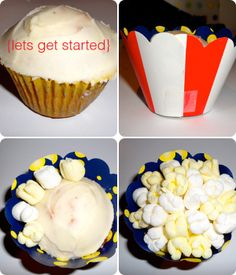 Popcorn cupcakes with marshmallows.
