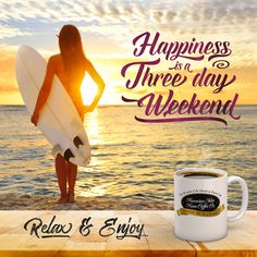 Happiness is a Three Day Weekend! - Kona Coffee Memes and Quotes for Coffee Lovers from Hawaiian Isles Kona Coffee Company. Cute and Funny Coffee Sayings, Truths and Humor for Breakfast, Morning Time and Coffee Break. Beach Memes, Beach Humor, Beach Quotes, Coffee Quotes Funny, Coffee Humor, Coffee Sayings, Funny Coffee, Three Day Weekend, Long Weekend