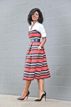 White Button Down Shirt + Striped Strapless Midi Dress (Style Pantry) Strapless Midi Dress, White Midi Dress, Classy Outfits, Cool Outfits, Cute Dresses, Vintage Dresses, Conservative Outfits, Style Pantry, White Button Down Shirt