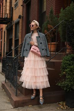 Blair Eadie wearing the tweed jacket, pink tulle skirt, and tweed mary jane flat. Cute Winter Outfits, Spring Outfits, Modest Fashion, Fashion Outfits, Womens Fashion, Fashion Ideas, Fashion Tips, Fashion Trends, Mode Style