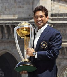 Sachin Tendulkar, the Indian Batting legend with the 2011 #Cricket world Cup.