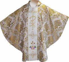Casulla brocada en los cuatro colores litúrgicos blanco