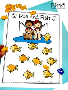 Going Fishing!! Roll - Count - Cover - Pre-k Camping Worksheets