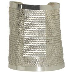 """3.25"""" Wide Graduated Cuff with Stiffened Chain in Silver Tone -- Like Gweneth"""