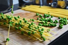 PEA THREADED PASTA!! The peas go directly on the pasta and cook that way. It's so fun!!