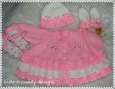 Baby /Reborn doll designer knitting pattern Cardigan/hat/Mitts/bootees | eBay