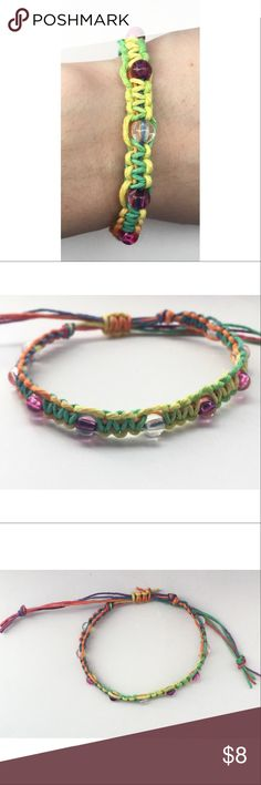 ✨Handmade Rainbow Hemp Beaded Bracelet ☾ Handmade  |   ♡  ☾ Size 7 inches (when adjusted tight); 3 inches excess string for adjustment  ☾ Color Rainbow colored hemp; Multicolored beads  ☾ Material Made with genuine hemp; 1/4 inch sized beads                                                                                   ✔ 1 to 2 day shipping ✔ Smoke free home ✖ No reserves ✖ No trades Jewelry Bracelets