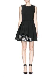 ALEXANDER MCQUEEN - Floral silk jacquard hem wool blend dress   Black Cocktail Dresses   Womenswear   Lane Crawford - Shop Designer Brands Online