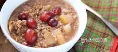 This is my FAVORITE steel cut oatmeal recipe- and I'm not a huge fan of oatmeal. But this tart, sweet apple cranberry oatmeal is pretty close to perfection