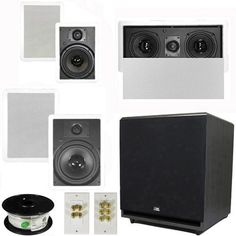 "5.1 Home Theater 8"" and 6.5"" Speaker Set with Center, 15"" Powered Sub and More TS6W8WL51SET9 by Theater Solutions. $429.99. Specifications2 TS65W In Ceiling/Wall Speakers6.5"" Woven Kevlar Driver with 32-20,000 Hz Range200 Watts RMS and 400 Watts Max per pair93dB SensitivityWall Cut Out Size is 10.5"" x 7.125""Overall Measurement is 12.125"" x 8.6875""Mounting Depth is 3""2 TS80W In Ceiling/Wall Speakers8"" Woven Kevlar Drivers with 30-20,000 Hz Range250 Watts RMS and 500 Watts Ma..."
