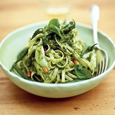 Pesto Linguine With Lemon: This antioxidant-rich, veggie-packed recipe helps you meet your daily quota, and with 8 grams of fiber, it will keep you satisfied for hours. | Health.com