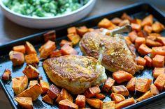 Crispy Skin Chicken With Sweet Potatoes & Broccoli Salad