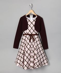 Take a look at this Rare Editions Brown Plaid Dress & Bolero - Girls by Mad for Plaid: Kids' Apparel & Shoes on #zulily today!