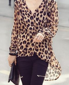 Leopard Women Fashion Asymmetrical Chiffon Shirts One Size