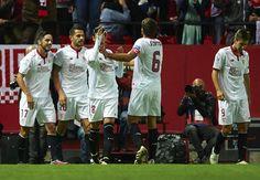 "Victor Machin Perez ""Vitolo"" of Sevilla FC celebrates after scoring during the match between Sevilla FC vs FC Barcelona as part of La Liga at Ramon Sanchez Pizjuan Stadium on November 6, 2016 in Seville, Spain."