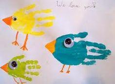 birds handprint art