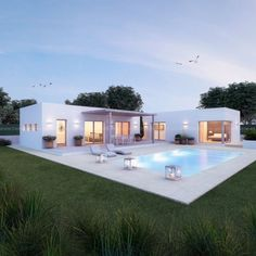 Pool House Plans, Dream House Plans, Modern House Plans, House Construction Plan, Modern Villa Design, Contemporary Design, Small Villa, Casas Containers, Luxury Homes Dream Houses