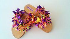 Girls Yellow Butterfly Sandals, Kids Flat Sandals, Girls Leather Footwear…