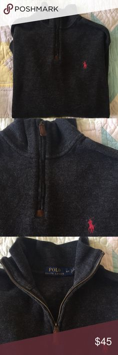 Ralph Lauren Polo Grey Cotton Zip Pullover Size S Like New RL Polo Grey 1/4 Zip Pullover Men's Size Small. I swear to goodness he never wore these clothes. Part of me wants to be mad he never wore them and part of thinks I should wear them myself lol but I look old in Grey.  I prefer to feel blessed we had the good fortune to Dress our children well. Handsome Leather tabs. Polo by Ralph Lauren Sweaters Zip Up