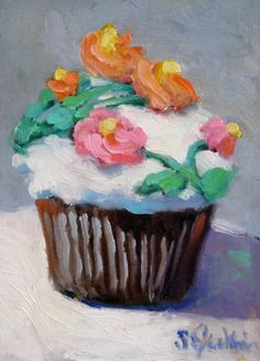 Cup Cake Painting  - Cup Cake Fine Art Print