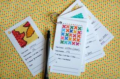 Swatch Card Set | Free Sewing Patterns | Oliver + S.  I like this instead of bringing my giant quilt top to match a backing fabric.