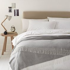 Buy Grey John Lewis Croft Collection Cashmere Throw from our Throws, Blankets & Bedspreads range at John Lewis. John Lewis Home, Modern Country Style, Cashmere Throw, Knitted Throws, Bed Throws, Home Bedroom, Bedroom Ideas, Master Bedroom, Beautiful Bedrooms