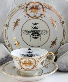 Vintage Queen Bee Tea Trio Bee Plate Trio Bee by AngiolettiDesigns Vintage Plates, Vintage Items, Tea Cup Saucer, Tea Cups, Buzzy Bee, I Love Bees, French Style Homes, Bee Art, Tile Murals