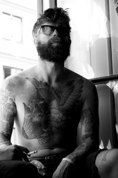 men fashion style tumblr sunglasses tatted tattoo tattoos hair beard season hairstyle watch