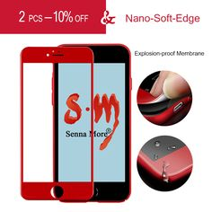 SM China Red Tempered Glass for iphone 7 7 Plus Tempered Glass Screen Protector for iphone7 7Plus 3D 0.26MM Full Cover Red Film