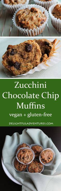 These delicious and easy-to-make vegan, gluten-free zucchini chocolate chip muffins are perfect for school snacks or for snacking on at home!: