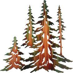 Pine Tree Forest Laser Cut Metal Wall Art