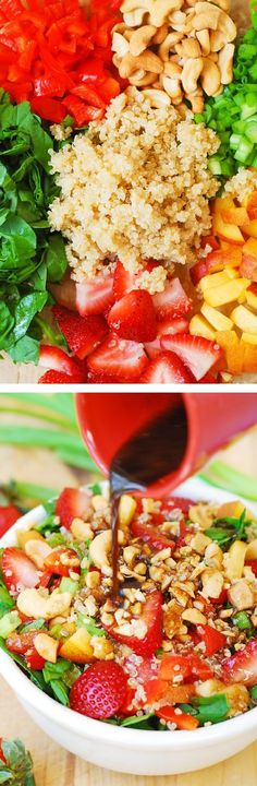 Strawberry, quinoa, spinach and cashew salad in a homemade honey-mustard balsamic vinegar dressing.