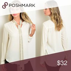 🆕 Ivory Long Sleeve Necktie Dress Shirt New with tags. Long sleeve chiffon blouse with studded detachable neck tie.                                               🌸100% polyester.                                                               🌺PRICE IS FIRM UNLESS BUNDLED.                                ❌SORRY, NO TRADES. Boutique Tops Blouses
