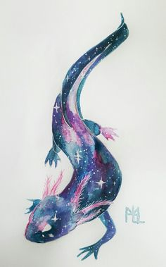Cute Animal Drawings, Animal Sketches, Cute Drawings, Mythical Creatures Art, Fantasy Creatures, Art And Illustration, Axolotl Cute, Arte Do Kawaii, Creature Concept