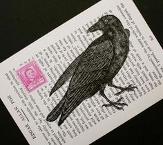 Poe's Raven: digital collage print, by CrowBiz on Etsy.
