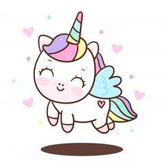 unicorn Cute Unicorn cartoon little pony angel pastel color (Illustration): Doodle Nursery decoration happy Cute Unicorn, Baby Unicorn, Unicorn Art, Cartoon Unicorn, Unicorn Birthday, Griffonnages Kawaii, Arte Do Kawaii, Kawaii Style, Unicorn Painting