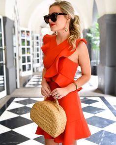 Red-ruffle-dress, BCBG-Dress, BCBG-Careen-Ruffled-Cutout-Dress