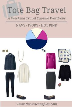 A travel capsule wardrobe for cool weather in a navy, ivory, and hot pink color palette