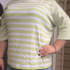 Lime green long sleeve shirt Lime green and white long sleeve shirt . It has some sliver snaps at the top , to add a cute touch . Very cute and great for fall/ winter or early spring . Christopher & Banks Tops