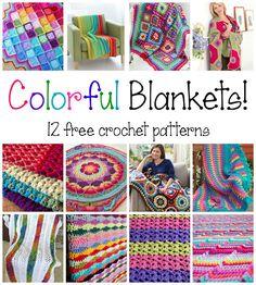 Colorful Blankets! 12 Free Crochet Patterns, roundup on Fiber Flux