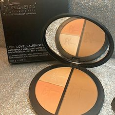 it Cosmetics Vitality Disc Live love laugh Vitality Disc waterproof anti-aging Matte bronzer brightening blush tint & Radiance illuminator. This is Authentic Seral numbers of A5168 on back of box and back of Disc. It has been swatched a couple times only. Almost new condition. Great for contouring. 5 Star review s on this product. Refer to photos for various shades and usage shown. It Cosmetics Makeup Bronzer