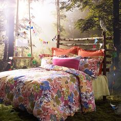 Bedroom with woodland photo wallpaper