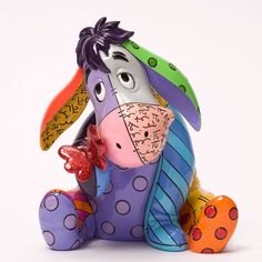 Buy Romero Britto - Eeyore Figurine online and save! Gloomy Eeyore gets the Pop Art treatment of artist Romero Britto. Bursting with bright, bold colours Eeyore makes friends with a diamond dusted red gl. Disney Winnie The Pooh, Disney Love, Disney Stuff, Winnie The Pooh Figurines, Eeyore Pictures, Precious Moments, Figurine Disney, Collection Disney, Parks