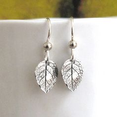 TINY Sterling Silver Leaf Earrings Leaves DJStrang by DJStrang