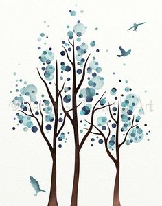 Watercolor circles form this wonderful tree. The art was originally done by me in beautiful shades of blues.