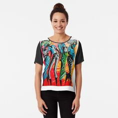 African Artwork, Chiffon Tops, Fitness Models, Clothes For Women, Women's Clothing, Sleeves, Mens Tops, How To Wear, Printed