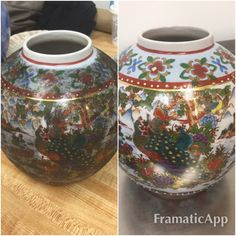 Soot damaged vase with gold trim Before and After photo. Cleaned with Morantz Ultrasonics in one minute!