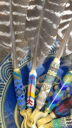 Seven Arrows Ceremonial Smudge Feather - beautiful peyote stitch Native American Crafts, Native American History, Native American Indians, Native Americans, Feather Crafts, Feather Art, Feather Painting, Native Beadwork, Native American Beadwork